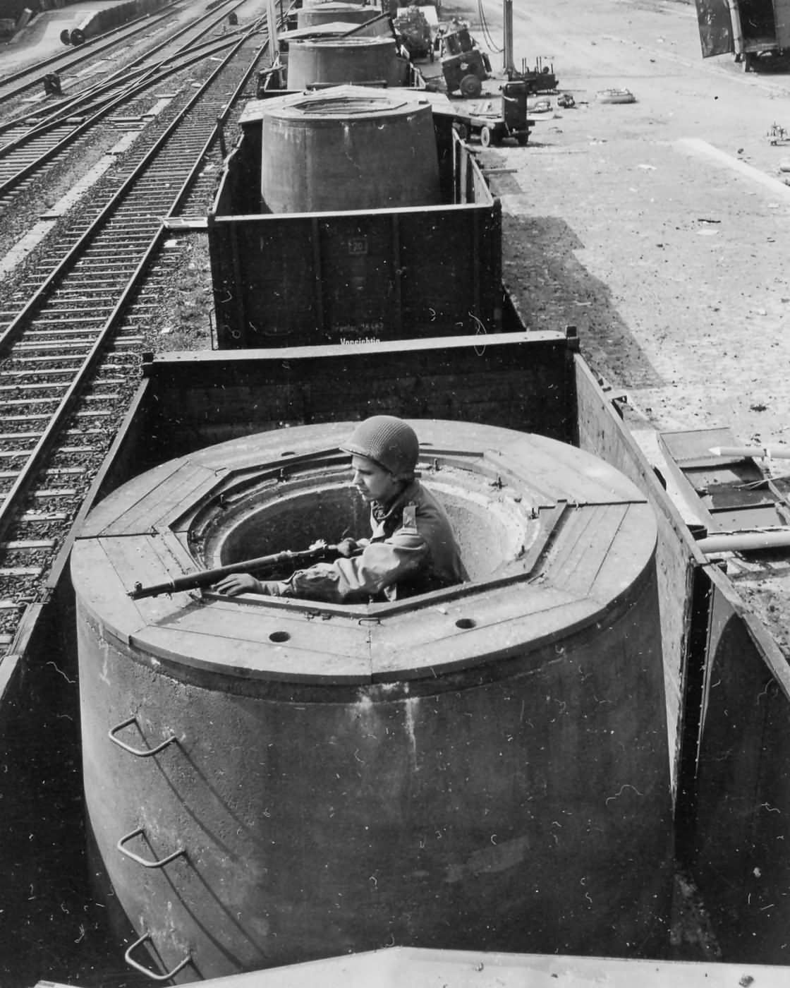 German armored train in yard at Ohringen Germany 1945
