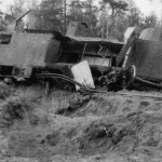 Destroyed russian armored train
