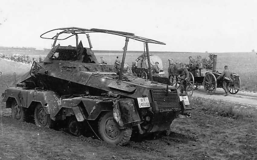 Destroyed SdKfz 232 armoured radio vehicle