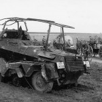 Destroyed SdKfz 232 armoured radio vehicle
