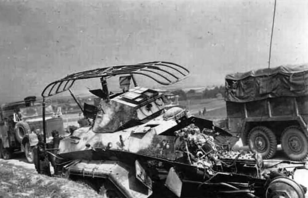The charred remnants of a German Sd Kfz 231 6-rad panzerspahwagen