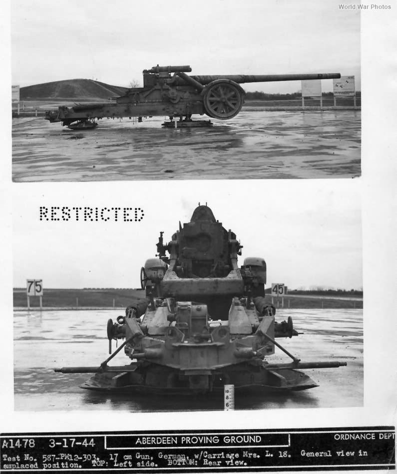 Captured 17 cm Kanone 18 in Morserlafette Aberdeen Proving Ground March 1944 4