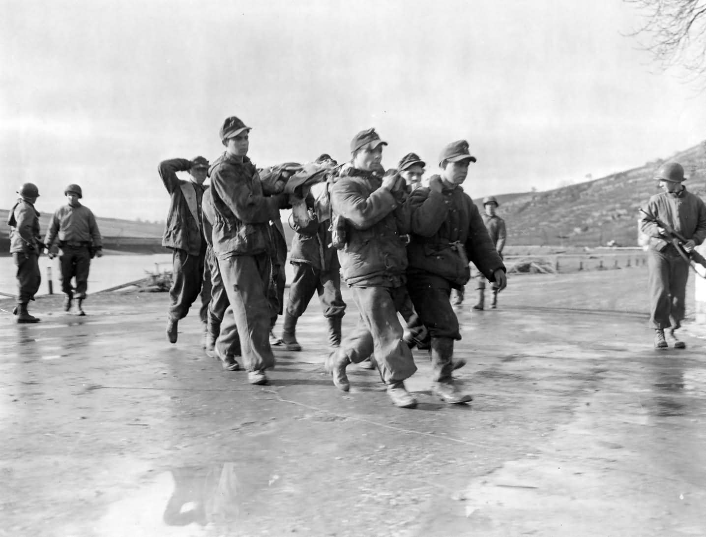 Combat Snapshot Wounded German Soldiers POW's Luxembourg Moselle 1945