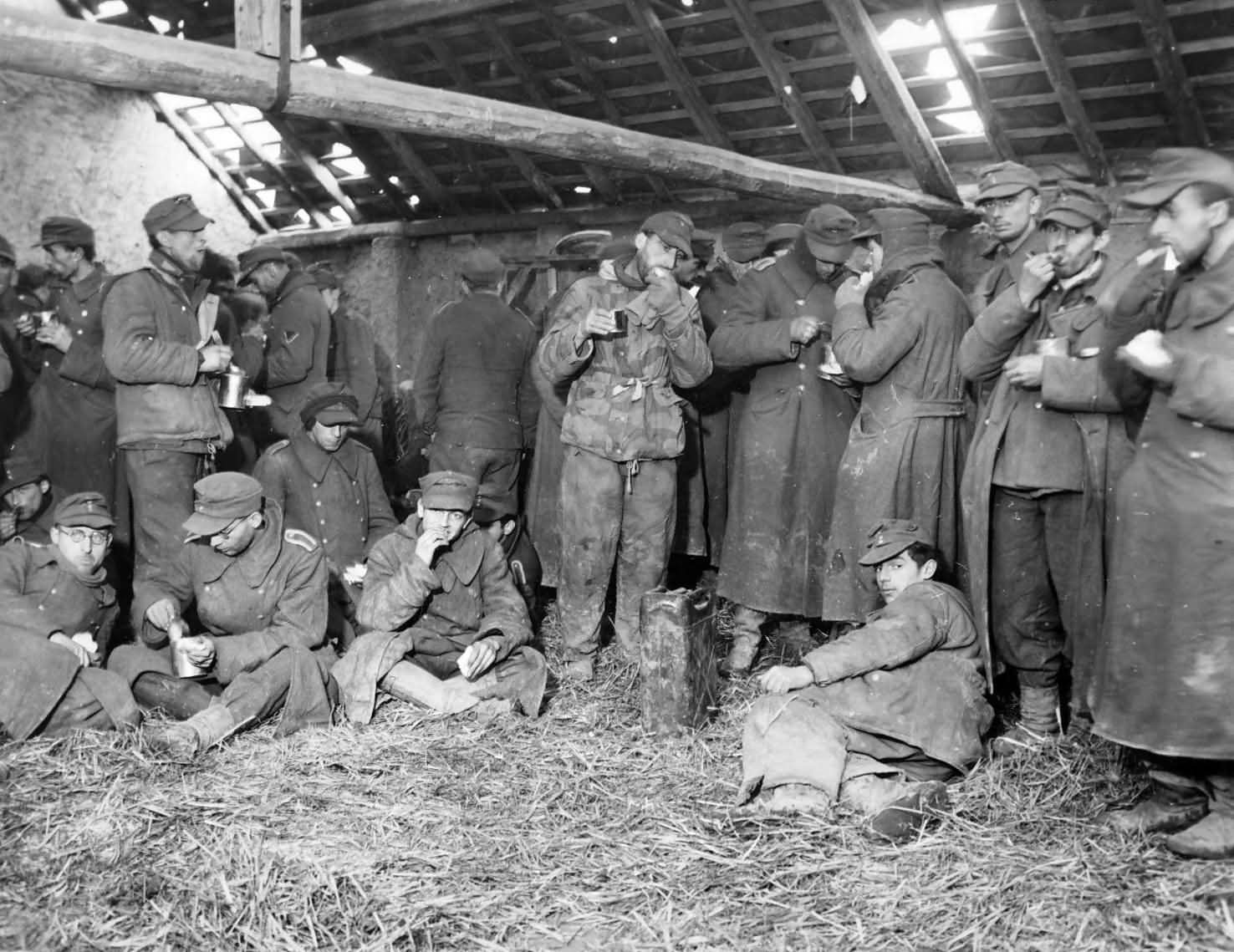 Hungry German Soldiers 80th Division POW's Eat February 1945 Germany