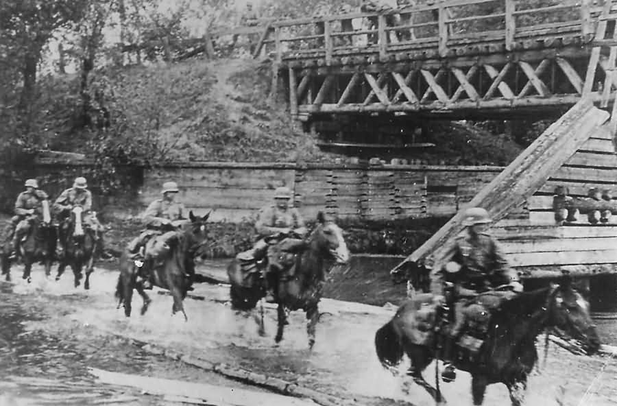 Wehrmacht German Cavalry Troops Ford Stream During Advance in Poland 1939