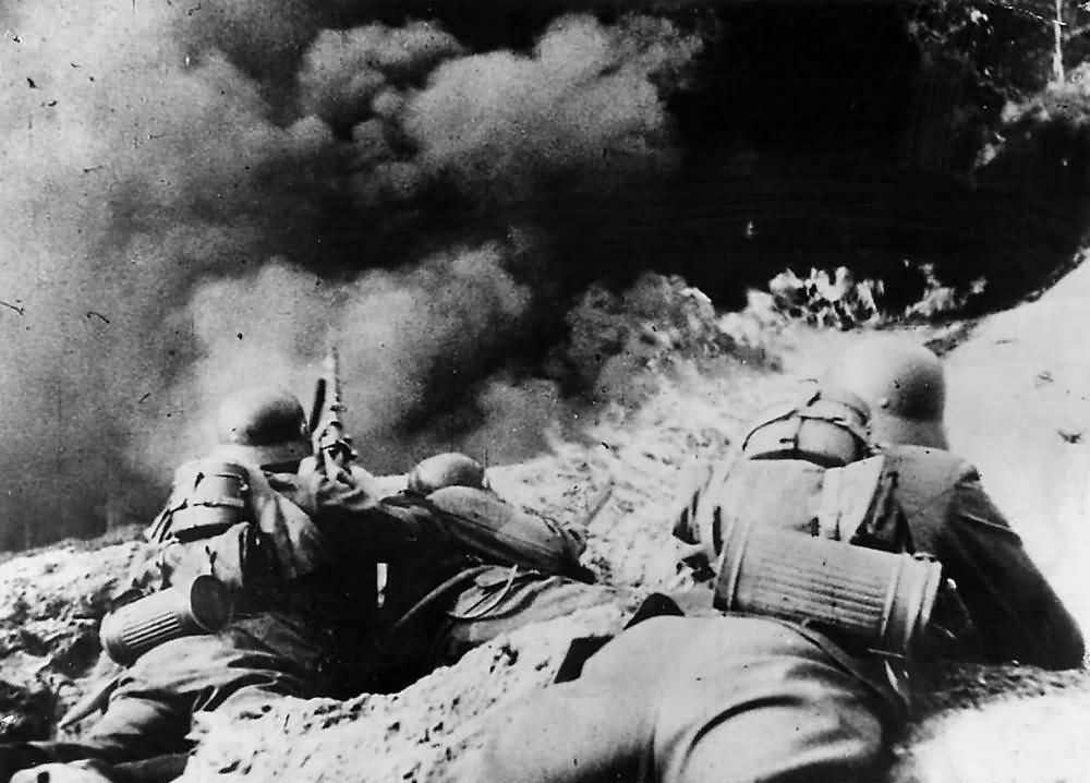 Wehrmacht Pioneer Troops In Action with Flame Thrower