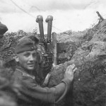 Wehrmacht observer in a trench on the Eastern front 1942
