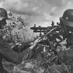 Wehrmacht soldiers on MG 34 machine gun post
