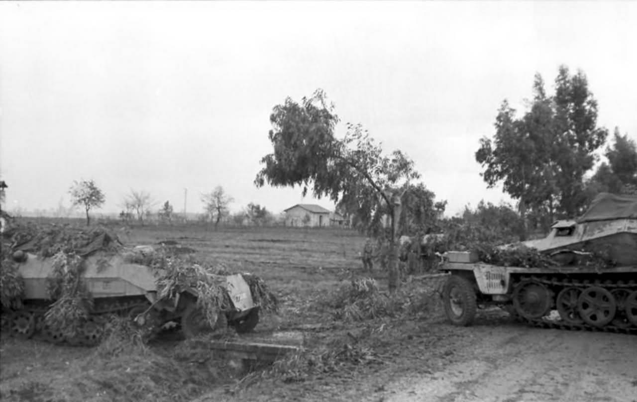 Camouflaged SdKfz 250 and SdKfz 251 Italy near Nettuno 1944