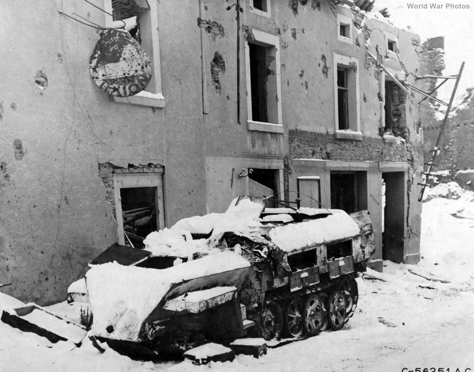 SdKfz 250 A German half-track destroyed in Houffalize, Belgium