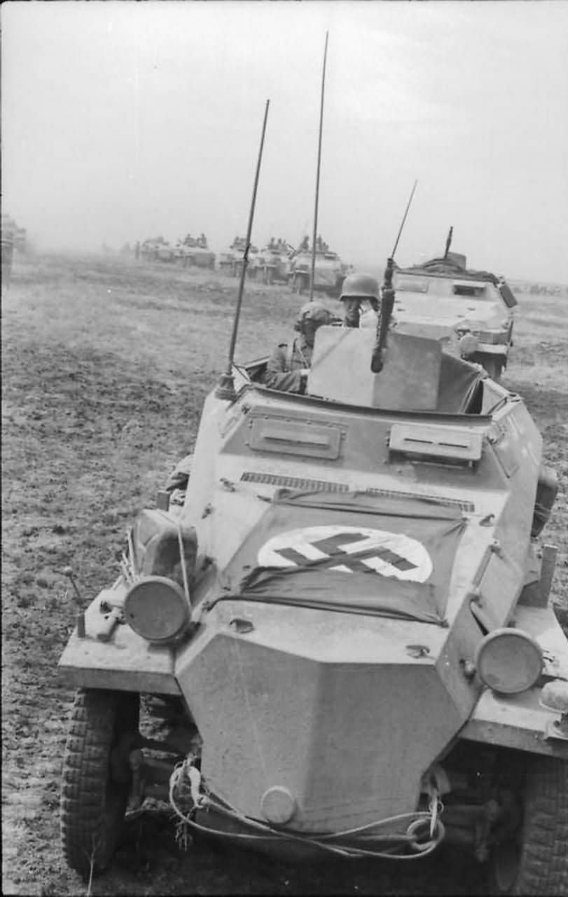 SdKfz 250 and column of SdKfz 251 eastern front south 1942