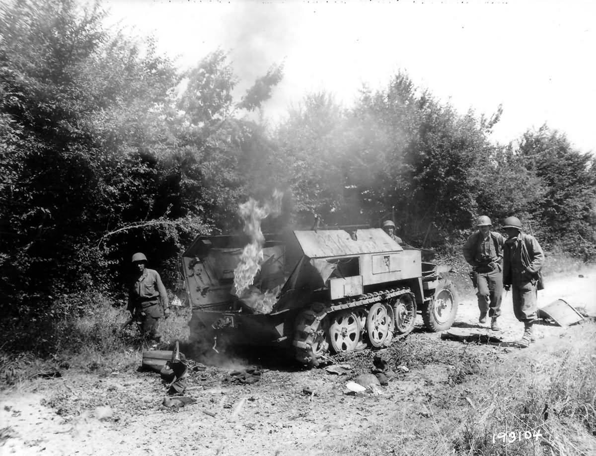 Burning Sdkfz 250 Ausf B France 1944