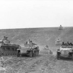 eastern front south Panzer III and Schutzenpanzer SdKfz 250 of 23rd Panzer Division 1942.