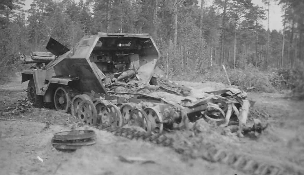 Destroyed german half track SdKfz 251
