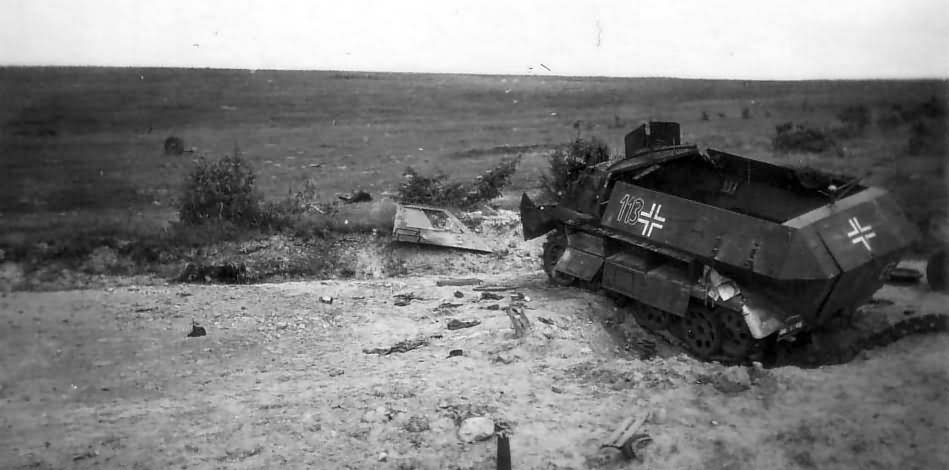 Destroyed armoured personnel carrier SdKfz 251 113