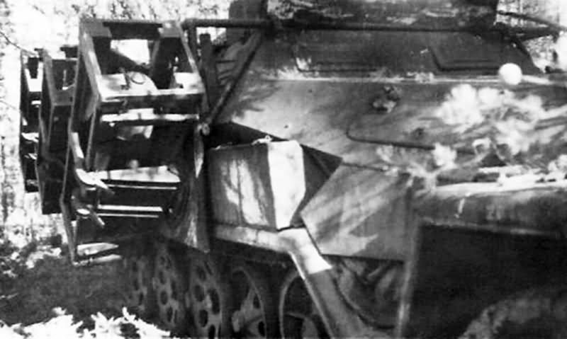 Sd Kfz 251 Stuka Zu Fuss quipped with side mounted frames for launching Wurfrahmen 40 rockets