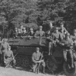 Armored personnel carrier SdKfz 251 Ausf A and soldiers