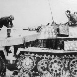 Sd.Kfz.251/9 Stummel German Halftrack And Crew Cleaning Barrel