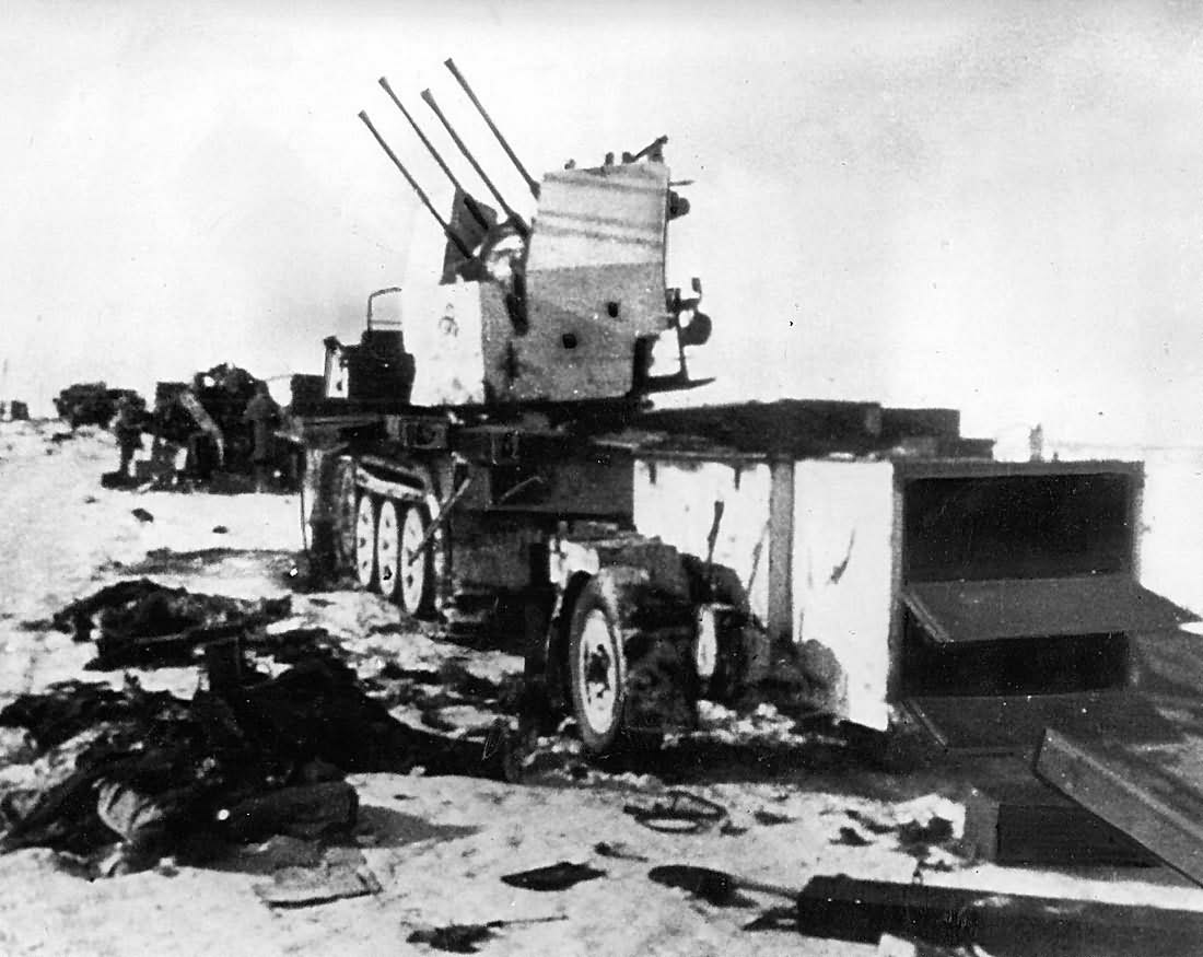 German quad 20mm anti aircraft gun on SdKfz 7 Halftrack Eastern Front