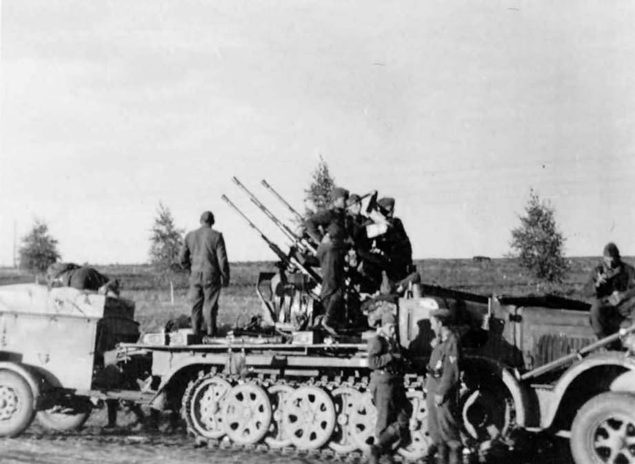2 cm flak sdkfz 7 1 with sd ah 56 trailer world war photos. Black Bedroom Furniture Sets. Home Design Ideas