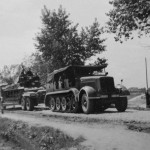 schwerer Zugkraftwagen 12t SdKfz 8 with trailer used as tank recovery vehicle France 1940