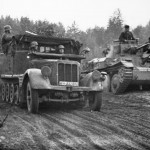 German light halftrack SdKfz 11 WH-232682 and Panzer 38t