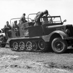 German light halftrack SdKfz 11 towing gun eastern front