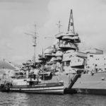 Broadside view of Bismarck battleship
