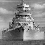 German battleship Bismarck in August 1940, bow view