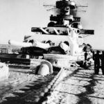 Scharnhorst foredeck, main battery turrets and superstructure