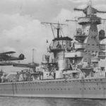 Deutschland class heavy cruiser Admiral Scheer launching a Heinkel He60 floatplane