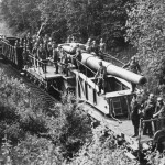 "28 cm Kanone Eisenbahnlafette L/42 ""Schwere Bruno"" gun of the Eisenbahn-Artillerie-Batterie 689, Germany 1940"