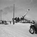 "28 cm Kanone (E) L/42 ""Schwere Bruno"". Gun of the Eisenbahn-Artillerie-Batterie 689. Winter camouflage, Eastern Front 1942"