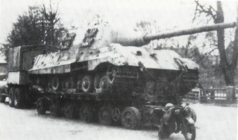 Captured Jagdtiger on Gotha trailer