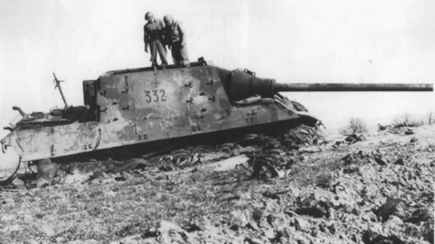 Jagdtiger 332 of sPzJagAbt 653 abandoned and blown up by the crew