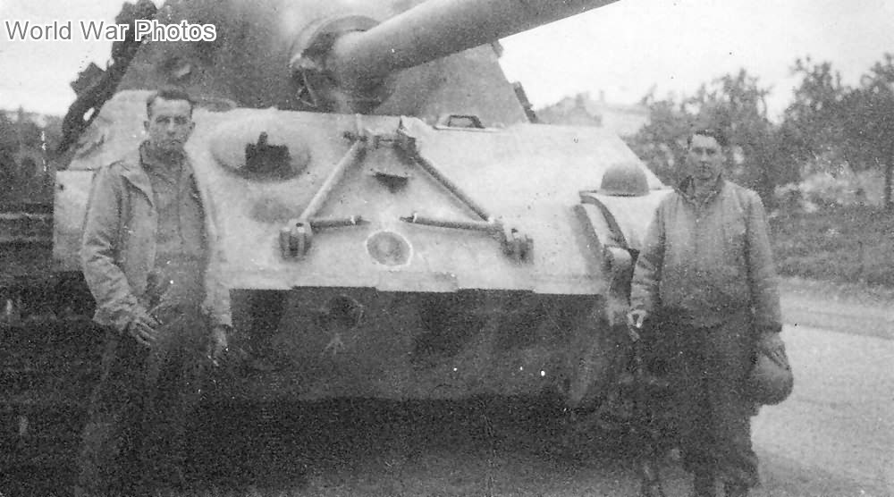 Jagdtiger with direct hits on its frontal armor