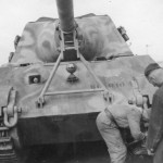 Jagdtiger number 301 of the schwere Panzer Jager Abteilung 653 with zimmerit front view
