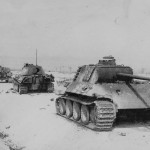 German Column 6 Panzer V Panther Ausf A tanks along road