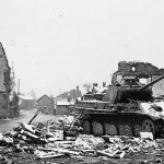 Panther Ausf G of 1st SS Panzer Division Leibstandarte SS Adolf Hitler tank number 221 with steel road wheels Ardenes