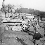 US GIs Climbing on Captured German Panther Ausf G Tank