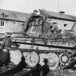US Soldier and KO Panther Ausf G Tank in La Gleize Belgium 1945