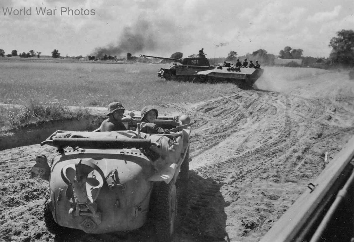 Panther, SdKfz 251 and Schwimmwagen of 5th SS Panzer Division Wiking