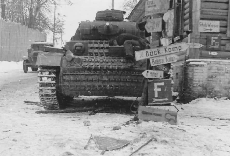 Panzer III and German road signs – Soviet Union
