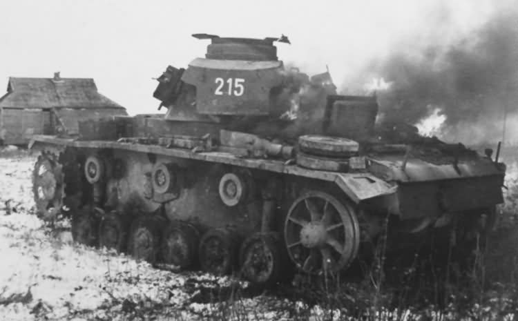 Burning Panzer III tactical number 215