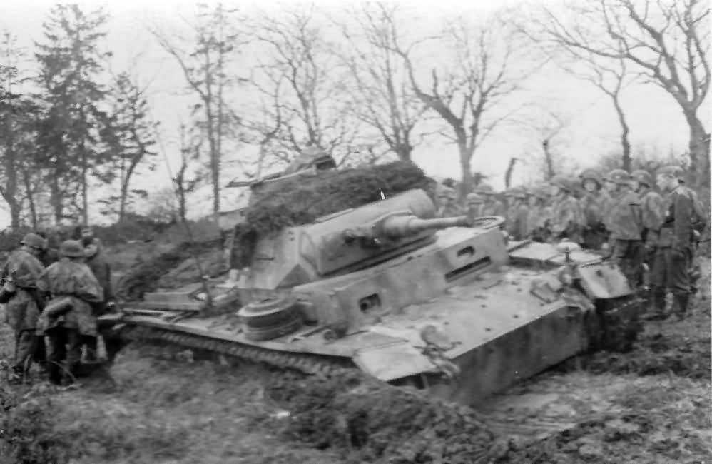 Panzer III tank in mud