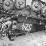 Knocked-out german Panzer 38t number 524, France 1940