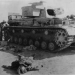 Body of crewman by Knocked Out Panzer IV 414 1942