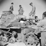 "British officers examine a KO Panzer III code ""1"" April 1942"