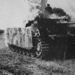 Burning Panzer III ausf M fitted with schurzen