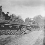Panzer III tanks of the 1. Panzer Division Duderhof Leningrad 1941